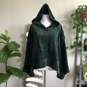 Chenille bell sleeve cropped hoodie